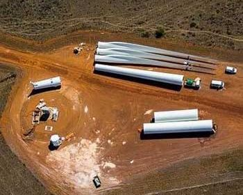 Wind turbine parts laid down